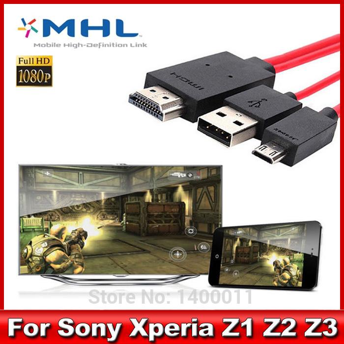 1080P MHL Micro USB To HDMI Adapter HDTV AV Cable For Sony Xperia Z3 Z2 Z1 1pcs Free Shipping(China (Mainland))