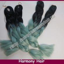 """Dobrado comprimento 24 """" Black & verde maçante 100 gramas Ombre dois tons de cor Kanekalon Jumbo cabelo trança grátis frete(China (Mainland))"""