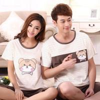 Hot selling women and men summer Pajama sets cute cartoon cat cotton knitting short sleeve sleepwear round neck tracksuit