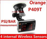 Original Orange TPMS P409T Universal TPMS Wheel, PSI/BAR measurement Tire Air Pressure Monitor, internal 4 Wireless Sensors