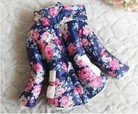 Retail Girl's Flower Print Thick Fleece Wadded Coat Autumn Winter Children Outerwear warm down free shipping