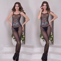 3 Pattern Lenceria Sexy Lingerie Open Crotch Bodystocking Women Printed Sequins Fishnet Body Stocking Mesh Bodysuit Jumpsuit B61
