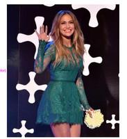 See Through Lace Long Sleeves Jennifer Lopez Green Celebrity Dress Elie Saab 2015Summer New Dresses Short High Neck Red Carpet