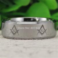 Free Shipping USA UK Canada Russia Brazil Hot Sales 8MM Silver Beveled Freemason Masonic New Men's Comfort Tungsten Wedding Ring