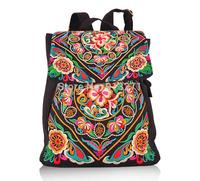 Vintage Women Drawstring Backpack Rucksack Ladies Black Casual Canvas Backpacks Gesar Flower Embroidery Minority Christmas Gift