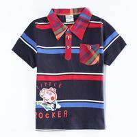 Free Shipping Peppa Pig T shirt for Baby Boys Kids Shirt Clothing Autumn T-shirt Turn Down Collor Striped Boy Tees