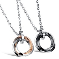 His and Hers Matching Chain 316L Stainless Steel Promise Pendant Necklace Couple Jewelry in Gift Box