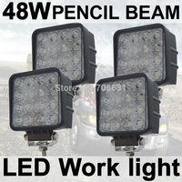 4X 48W SPOT Square LED Work Light Lamp car Truck Vehicle Driving Boat