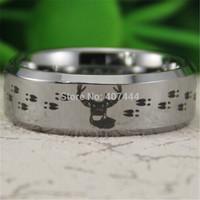 Free Shipping USA UK Canada Russia Brazil Hot Sales 8MM Silver Bevel Hunting Buck&Deer Tracks Mens Comfort Tungsten Wedding Ring