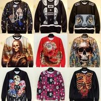 2015 new galaxy unisex skull sweatshirt 3D animal skeleton cartoon wechat print funny hoody women mans unique sweater pullovers