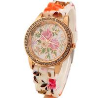Free Shipping hot sale rhinestone flower pattern rubber band watches wholesale ladies quartz wrist watchmanufacturers