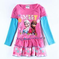 Wholesale Frozen Children Girl Dress Cotton Elsa Anna Printed Dress Long Sleeve Autumn Clothes for Baby Girls Kids Rosy Dresses