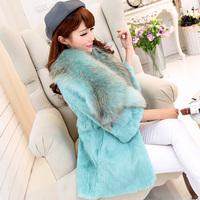 Free shipping 2015 new winter women's Full leather  three quarter sleeve medium-long raccoon fur collar rabbit fur coat(M-3XL)