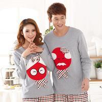 Winter autumn new cartoon casual cute couple Pajama sets long sleeve cotton comfortable women and men sleepwear tracksuit