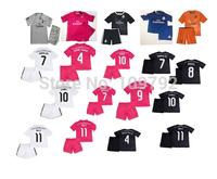 2014-15 Real Madrid white Pink black blue Orange Kids Children Ronaldo BALE JAMES soccer jersey Football Uniforms shirt+shorts