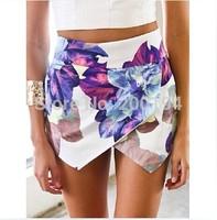 2014 Fashion LOVEGIRL Flower Print shorts Asymmetrical Skirt Shorts Summer Flower Print Hot Pants Women Brand Pom Short Feminino