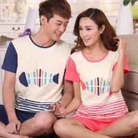 High quality Couple Pajama sets short sleeve summer styles fish bones cartoon cute sleepwear suit for men and women
