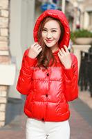 Women's Winter Thin Hood Short Coat Cotton-padded 2014 Woman Jacket Winter Parkas For Women Fashion Short Black Outerwear XXL78