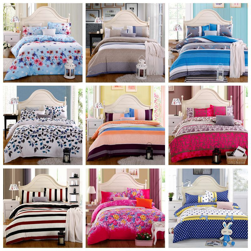 Home textile,Reactive Print 3/4Pcs bedding sets luxury Full/Queen/King Size Bed Quilt/Doona/Duvet Cover Pillowcases Set New(China (Mainland))