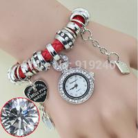 Free shipping 2015 fashion casual 2pcs creative bracelet watch diamond Wristwatches 5 colors