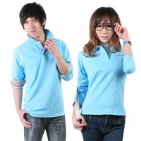 Lovers long-sleeve T-shirt work wear long-sleeve T-shirt casual male long-sleeve T-shirt jade blue