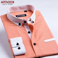 fashion men autumn spring casual shirts korean slim   houndstooth long-sleeve shirts  square collar dress