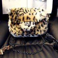 Free shipping 2014 rabbit fur shoulder women's handbag  leopard print chain small bag cross-body handbag