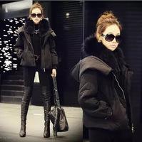 Thicken Fleece Hooded Parka Womens Hooded Fur Winter Jacket Women Brand Black Cotton Padded Jacket Hooded Parka For Womens XL79