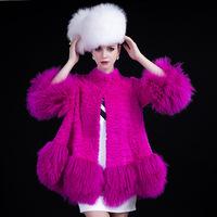 Free shipping Netherland rabbit fur coat jacket women luxury high street winter Outwear star style 3/4 sleeve abrigos mujer 2014