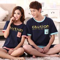 High quality cotton pajama wholesale summer short sleeve round neck casual sleepwear for women and men pyjama