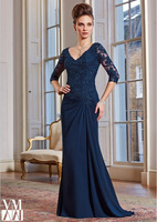 Style 2015 Graceful Navy Dress and Stole Elbow Sleeves Lace Appliques Beaded V-Neck Chiffon Sheath Mother Of The Bride Dresses
