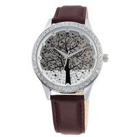 New Arrive Women Quartz Clock Genuine Leather Watch Diamond Watch Christmas Tree Design Dress Watches,30M Water Resistant,9195