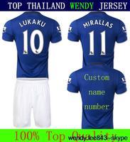 A+++ Mirallas Lukaku Eto'o Baines 14 15 Everton Soccer Jersey Thailand Kit Thailand Futbol SHORT Custom