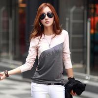 Korean Lady Diamond Fashion Cotton Tops Patchwork Long Sleeve Bodycon Autumn Tshirt Casual Base Tees Blusa Encaje Crochet 8863
