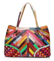 Free Shipping Hot Sale Women Handbag Casual OL Lady Purse Patchwork Handbags Tote Shoulder Bag Colorful