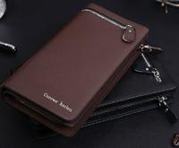 Free shipping hot sales business men wallets, men's fashion casual brand metal zipper leather clutch long wallet