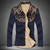 Free shipping famous brand plus size XXL 4xl 6xl Winter velvet thickening long-sleeve men shirts floral shirt slim mens shirt