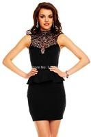 Women crochet dress Casual Peplum Mini Dress plus size M L XL Hot sale free shipping