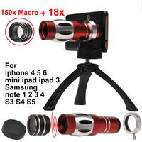 mobile phone 18x Telescope + 150x macro Lens For iphone 4 5 5s 5c 6 plus mini ipad Samsung note 2 3 N7100 i9300 i9500 S3 S4 S5