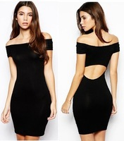 New Designer Sexy Backless Short Sleeve Slash Neck Slim Package Prom Pencil Dress for Women to Evening Party Clubwear    WZA387