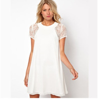 Hot Sale Summer Short Sleeve Patchwork Lace Casual Dress for Women White Color Sexy Slit Back with 3 Buttons Freeshipping WZA375