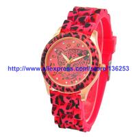 6 Colors 2014 Hot Sale Colorful Fashion Silicone Belt Artificial Diamond Leopard Head Watches GENEVA Women Dress Watches