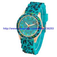 GENEVA Fashion Casual Watch Leopard Pattern Imitation Diamond Dial Silicone Band Women Analog Ladies Quartz Watch Dropshipping