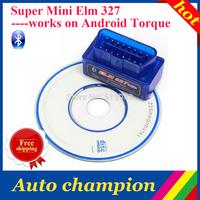 car detector - diagnostic or scan tool -  herramienta de analisis - OBD2 Super Mini ELM327 with CD Bluetooth V2.1 FreeShip ByCN