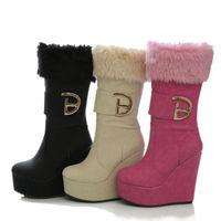 Womens HIgh Heel Wedge Side Zip Fur Top Trim MId Calf Boot Fashion Winter Shoes