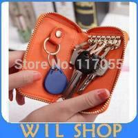 Hot selling 5pcs Unisex Short Key Bag Case Leather car key holder for fashion key wallet