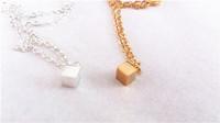 Valentine Day Gift Gold Square Necklace Charm, Minimalist tiny mini small silver chain fashion jewelry