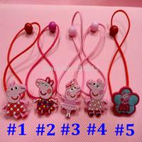 Wholesale Beautiful girls kids Peppa pig Doll colorful Elastic hair Bands Hairwear accessories Christmas gifts Headwear RJ3038