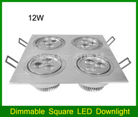 Dimmable Square LED DOWNLIGHT 4W/12W/20W/28W LED Ultra bright Recessed ceiling spot light AC110V/220V White /warm white