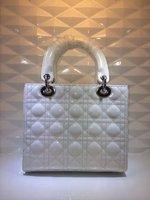 Top quality original brand luxury LADY genuine patent leather wihte silver women's tote fashion handbag free shipping wholesale
